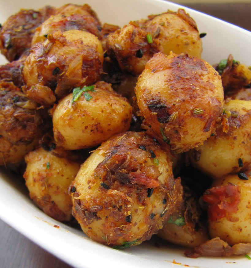 achari aloo pickled baby potato curry